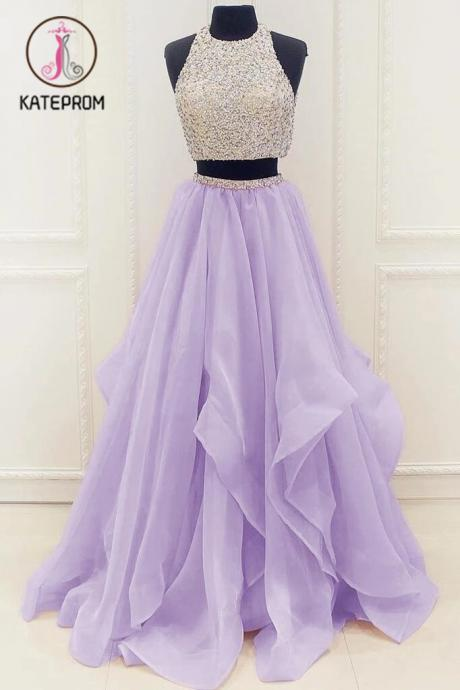 Kateprom Lilac New Arrival Modest Organza Prom Dresses,Stunning Sequin Two Piece Prom Dress KPP00034