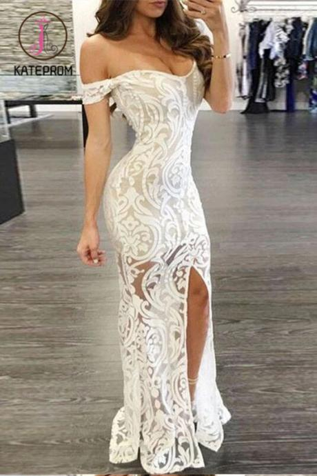 Kateprom Sheath Lace Off-Shoulder Prom Dress,Long Formal Dress,Lace Evening Gown with Split KPP00043