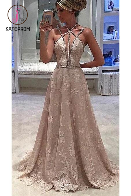 Kateprom Lace Straps Halter Sleeveless Formal Evening Dress,Deep V-neck Prom Dress With Beading KPP00046