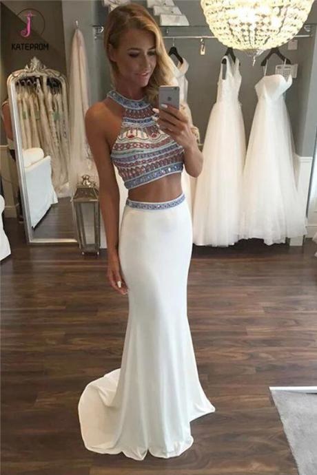 Kateprom Two Piece Halter Sleeveless Ivory Beaded Prom Dress with Sweep Train,Prom Dress Long KPP00053
