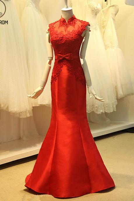 Kateprom Elegant Mermaid Evening Dresses, Applique Beading Red Dress,High Neck Cap Sleeves Dress,Illusion Back Long Prom Dress, Party Formal Gown KPP00058