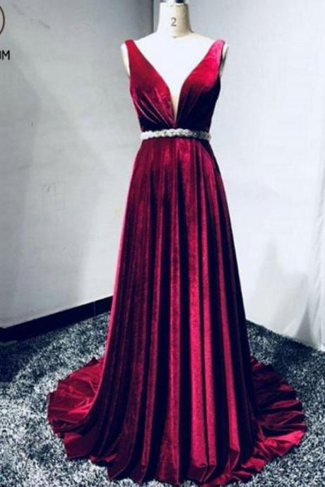 Kateprom Stylish A Line Deep V Neck Beaded Long Burgundy Velvet Prom/Evening Dress KPP00065