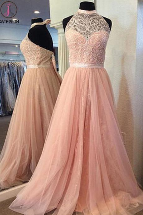 Kateprom Pink tulle strapless Prom Dresses, long A-line crystal prom dress, backless long evening dress, Prom Dresses KPP00068