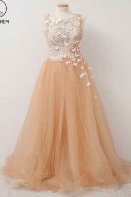 Kateprom Vogue A-Line Champagne Prom Dress,Scoop Neckline Appliqued Tulle Long Prom Dresses Online,Evening Dress KPP00081