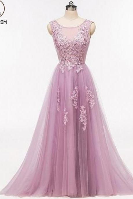Kateprom Purple Scoop Neckline Tulle Skirt Long Evening Prom Dresses, Popular Cheap Long Evening Dress KPP00082