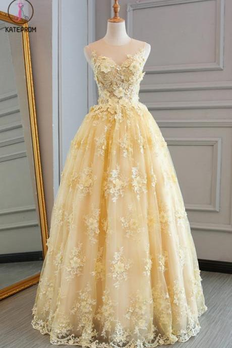 Kateprom Spring Yellow Lace Customize Long A-line Senior Prom Dress, Long Lace Halter Evening Dress KPP00087