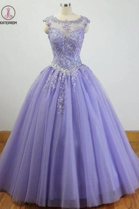 Kateprom Gorgeous Purple Tulle with Lace Applique Quinceanera Dress, Long Formal Gown KPP00092