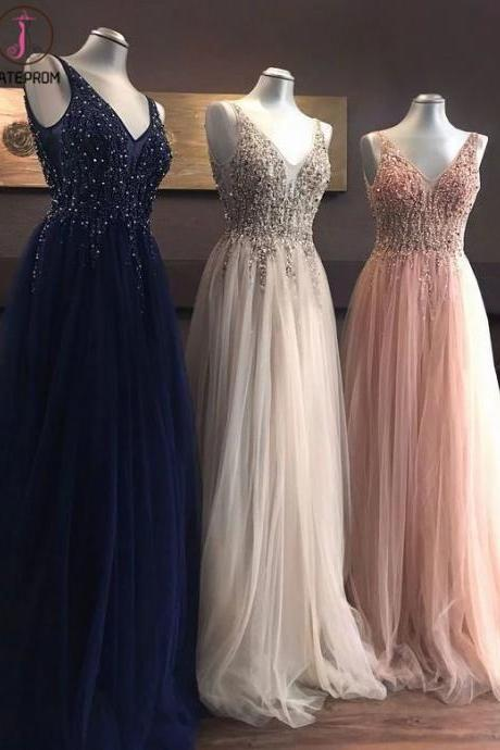 Kateprom v neck prom dress, beaded prom dress, lace applique prom dresses, elegant prom dress, senior formal dresses, tulle prom dress, cheap prom dresses, evening gown, 2021 prom dresses, champagne prom dresses KPP0132