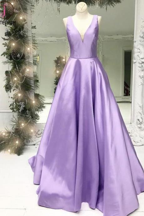 Kateprom purple prom dress, v neck prom dress, senior formal dresses, satin prom dress, cheap prom dress, prom dresses 2021, vestido de festa de longo, elegant prom dresses, prom dresses long KPP0134