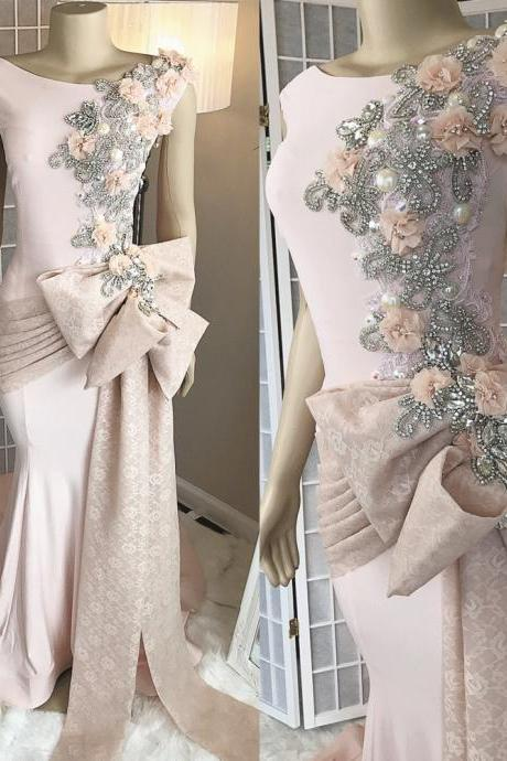 Kateprom pink prom dress, mermaid prom dresses, lace applique evening dress, robe de soiree, crystal evening dresses, modest evening dress, vestido de longo, cheap evening dresses, women fashion, evening dress, vestido de longo KPP0145