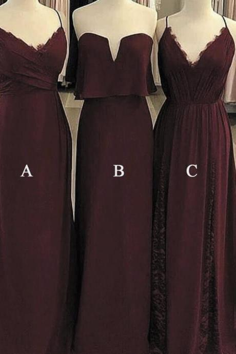 Kateprom mismatched bridesmaid dresses, burgundy bridesmaid dress, cheap bridesmaid dress, wedding guest dress, lace bridesmaid dresses, chiffon bridesmaid dress, wedding guest dresses, robe de soiree, 2020 bridesmaid dresses KPP0148