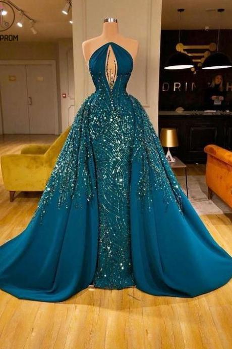 Kateprom luxury prom dress, beaded prom dresses, green prom dress, vestido de festa de longo, crystals prom dresses, elegant prom dresses, detachable prom dress, prom ball gown, 2020 prom dresses, vestido de longo KPP0154