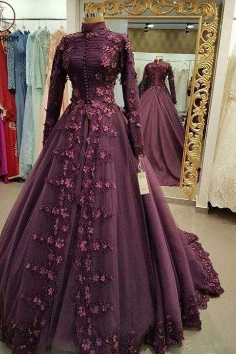 Kateprom muslim prom dress, vintage prom dress, high neck prom dresses, lace applique prom dress, elegant prom dresses, robe de soiree, vestido de festa de longo, prom ball gown, dubai fashion prom dress KPP0162