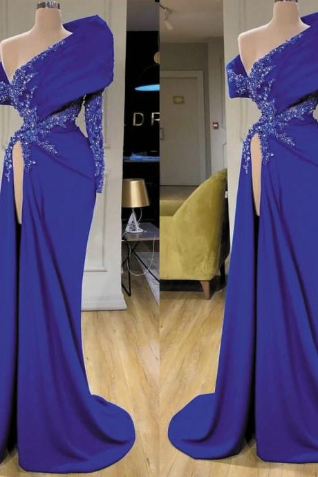 Kateprom modest prom dress, evening gown long, royal blue prom dresses, elegant prom dress, beaded evening dresses, mermaid evening dresses, abendkleider 2020, robe de soiree, vestido de longo KPP0168