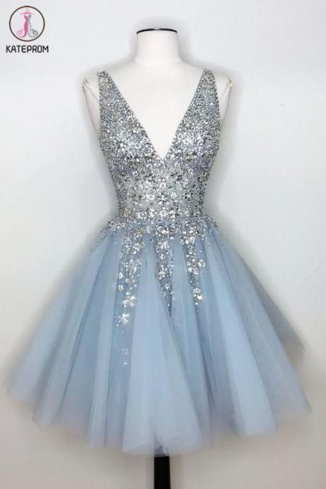 Kateprom short prom dress, gray prom dresses, beaded homecoming dresses, vestido de graduacion, robe de soiree, a line prom dress, homecoming dresses short, cheap prom dresses, 2020 prom dresses, vestido de festa de curto KPP0177
