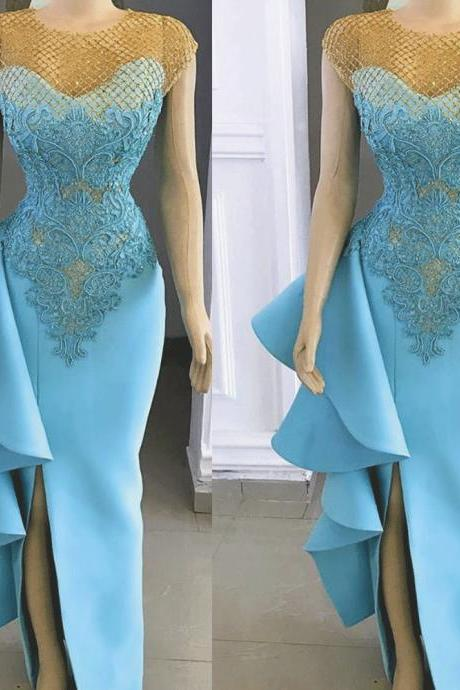 Kateprom blue evening dress, lace applique evening dress, evening dresses long, mermaid evening dress, beaded evening dress, prom dress, robe de soiree, 2020 evening dress KPP0179