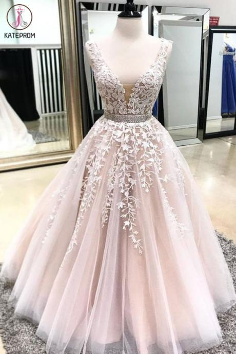 Kateprom deep v neck prom dress, pink prom dress, prom dresses long, vestido de longo, lace applique prom dress, prom gown, elegant prom dress, sleeveless prom dress, women fashion, evening gowns KPP0190