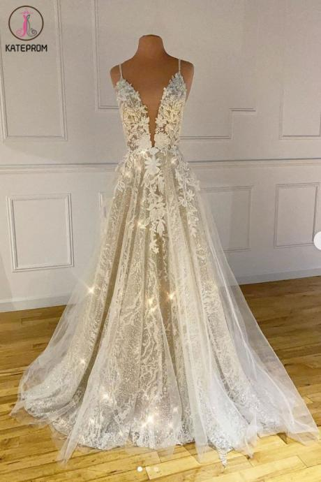 Kateprom spaghetti strap prom dress, lace applique prom dress, sparkly prom dress, elegant prom dress, a line prom dress, robe de soiree, vestido de festa de longo, 2020 prom dress, cheap prom dresses KPP0199