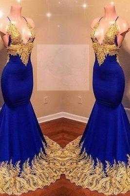 Kateprom royal blue evening dress, sexy formal dress, prom dress, vestido de longo, lace applique evening dress, evening gown, robe de soiree, beaded evening dress, vestido de festa de longo, 2020 evening dress, women fashion KPP0211