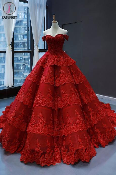 Kateprom burgundy prom dress, ball gown prom dress, lace applique prom dress, 2020 prom dress, prom ball gown, vestido de novia, off the shoulder prom dress, vestido de noiva, ball gown wedding dresses KPP0212