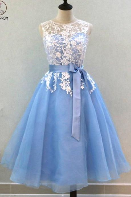 Kateprom Light Blue Tulle Mid Length Lace Bridesmaid Dress, Prom Dress,Bridesmaid Dresses KPP0228