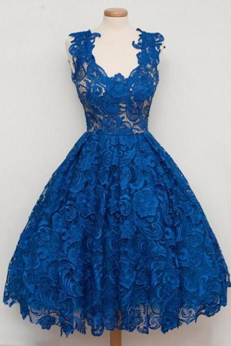 Kateprom Sleeveless Party Homecoming Dress Short Royal Blue Prom Dresses With Zipper Lace Delightful Dresses KPP0245