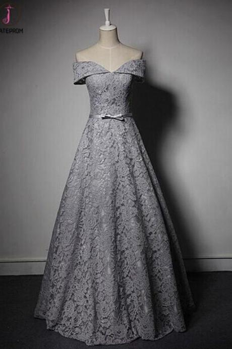 Kateprom New Style Lace Prom Dress, Off Shoulder Gray Prom Dress, A-Line Long Prom Dress,Long Evening Dresses KPP0282