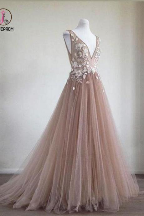Kateprom Pink Long Tulle Prom Dresses,Formal Dress,Prom Dress,Lace Appliques Evening Dresses KPP0338