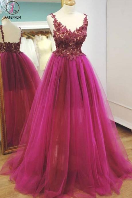 Kateprom Long Tulle Prom Dresses,Formal Dress,Prom Dress,Lace Appliques Evening Dresses KPP0339