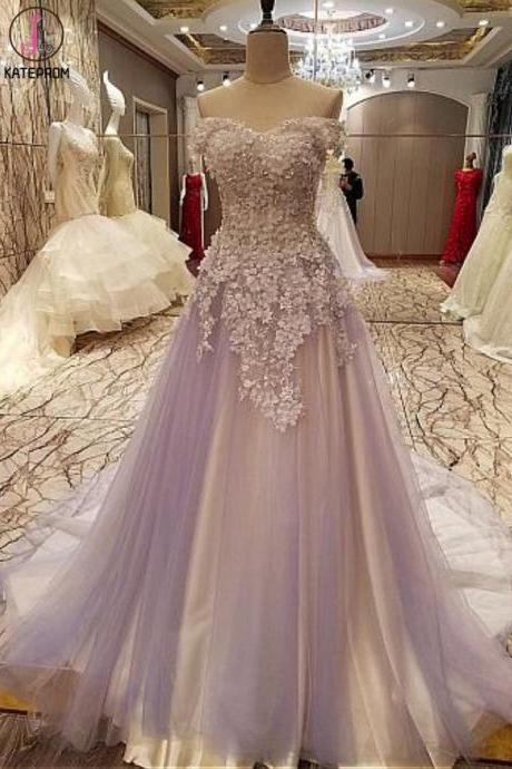 Kateprom Modest Tulle Off-the-shoulder Neckline A-line Prom Dresses With Lace Appliques Handmade Flowers Elegant Evening Dress,New Fashion Custom Made Prom Dresses KPP0347