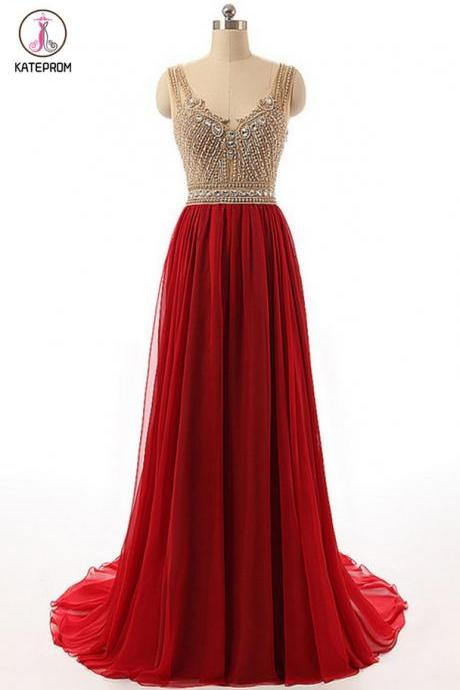 Red Prom Dress, Red Tulle Round Neck Beading Prom Dresses, Rhinestone See-through A-line Princess Long Prom Dress for Teens KPP0366