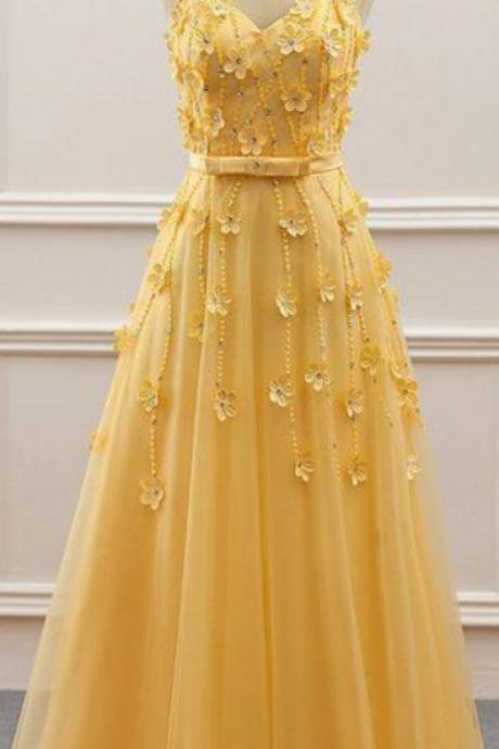 Yellow Prom Dresses, Gorgeous Tulle Jewel Neckline A-Line Prom Dress With Beadings, Handmade Flowers Evening Dress KPP0375