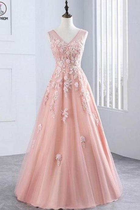 Pink Evening Dresses, Pink V Neck Tulle Lace Long Prom Dress KPP0386