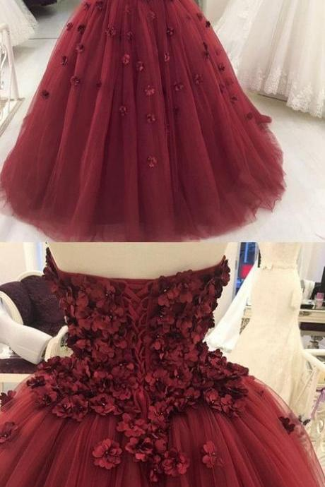 Strapless Burgundy Tulle Ball Gown Prom Dress, Formal Evening Dress, Burgundy Prom Dress KPP0395