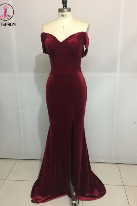 Burgundy Prom Dress, Spaghetti Straps Mermaid Party Gowns, Mermaid Formal Dresses, Long Prom Dresses KPP0400