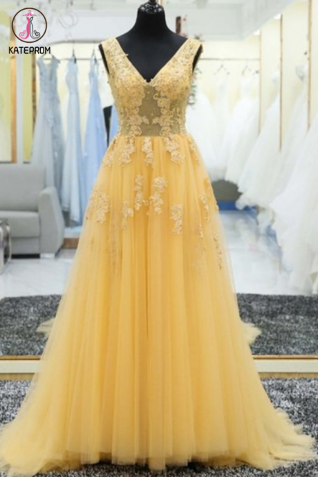 Yellow Tulle Appliques Prom Dresses, Long A-line V Neck Party Dresses ,Floor Length Evening Dresses ,Formal Gowns with Lace Appliques KPP0403