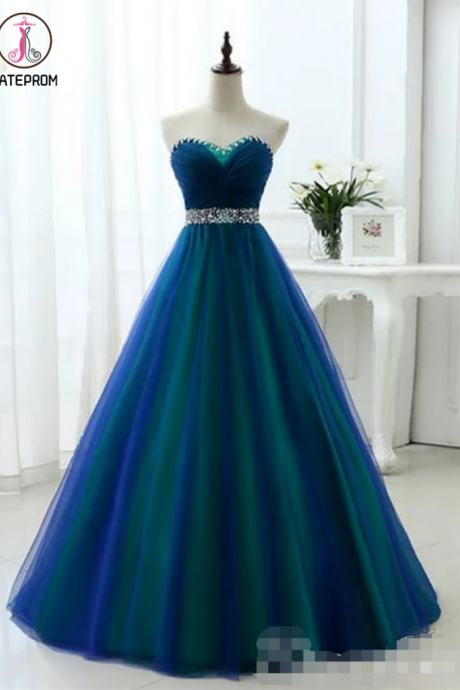 Blue Green Prom Dress, charming Prom Dress,long prom dress,strapless prom dress,SweetHeart Neckline Rhinestones Sash Prom Dresses KPP0413