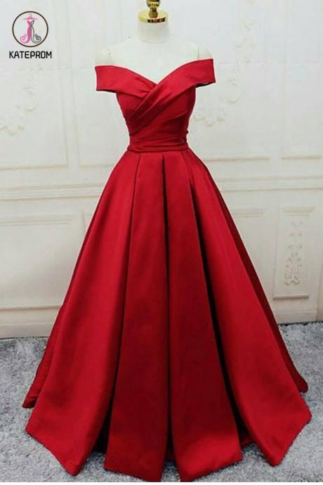 Off The Shoulder Prom Dresses Satin Red Sweep Train Lace Up Back KPP0415