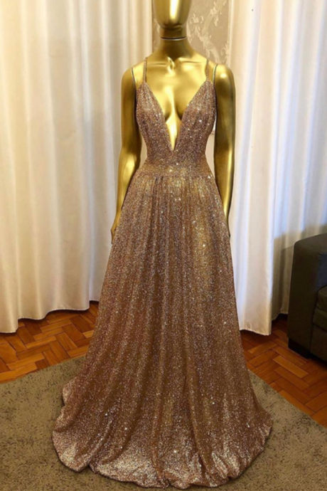 GOLD SEQUINS LONG PROM DRESS EVENING DRESS KPP0429