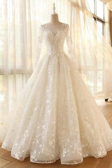 Fabulous Mesh Neckline Long Sleeves A-Line Wedding Dress With Lace Appliques Flowers Long Sleeves KPW0072