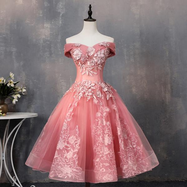 Pink Tea Length Sweetheart Off Shoulder Prom Dress, Sweet 16 Dresses KPP0458