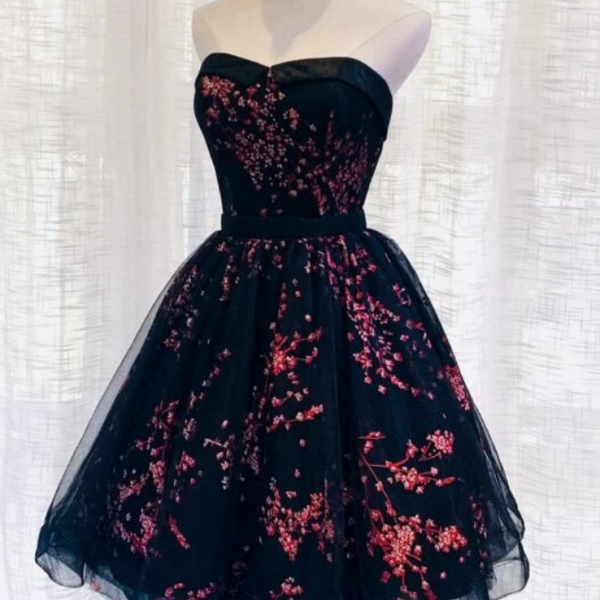 Tulle Scoop Homecoming Dress, Lovely Black Party Dress KPP0459