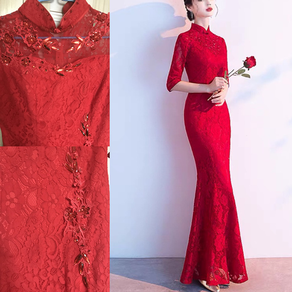 Anneprom High Neck Sweep Train Chiffon Red Prom Dress Evening Gowns With Beading KPP0460